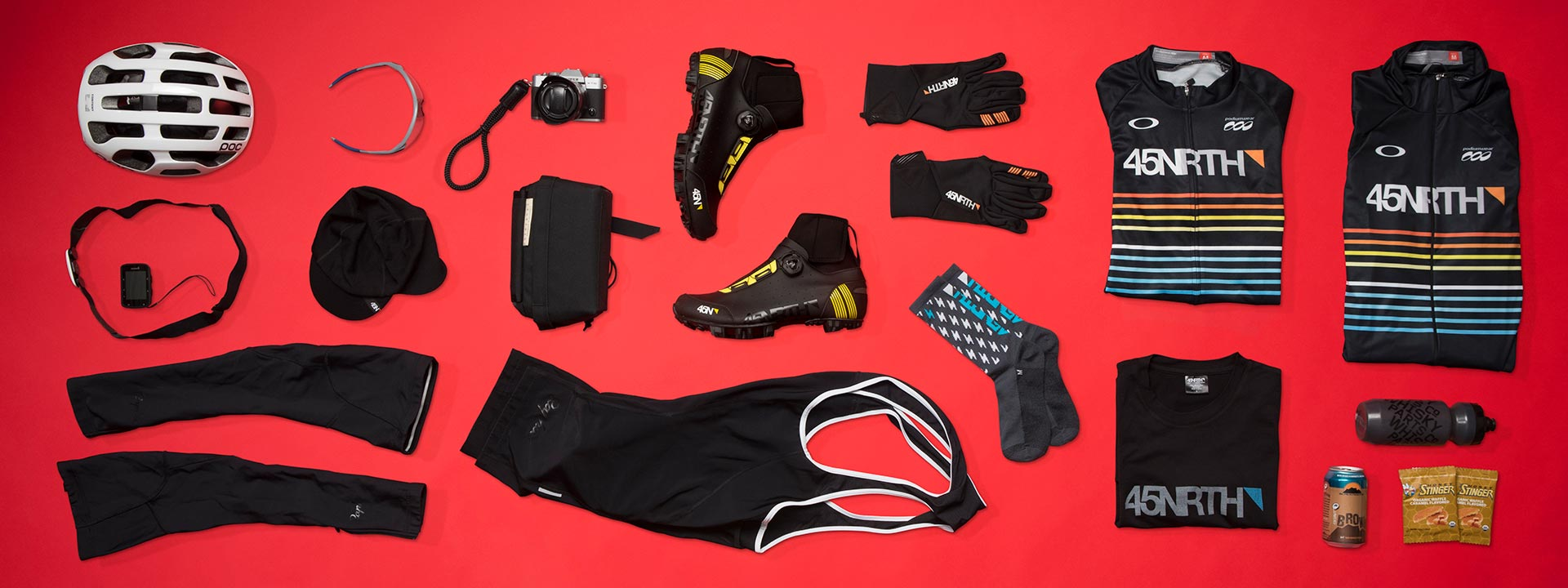 A group of 45NRTH products that cyclist should wear when riding in temperatures between 25 and 45 degrees