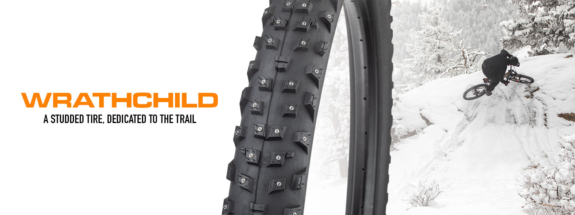 Wrathchild - A studded tire, dedicated to the trail - Closeup of tire tread and studs in front of a rider on a snowy hill