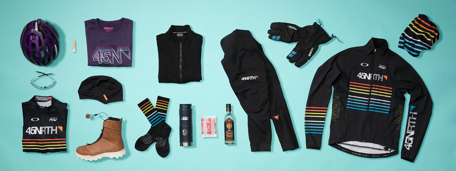 A group of 45NRTH products that cyclists should wear when riding in weather below 15 degrees