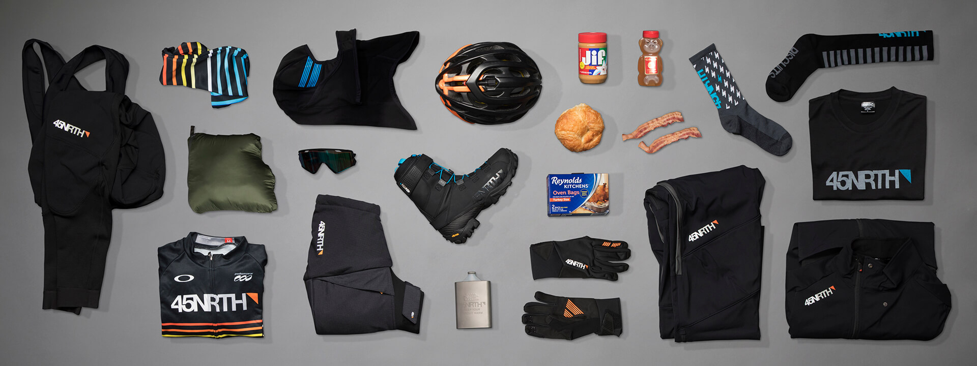A group of 45NRTH products that cyclist should wear when riding in below zero weather
