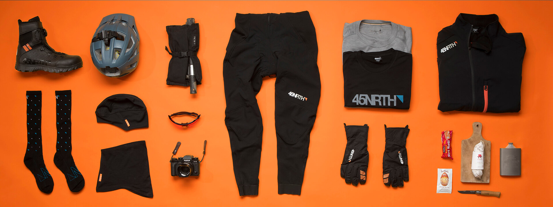 A group of 45NRTH products that cyclist should wear when riding in weather between 15 and 25 degrees