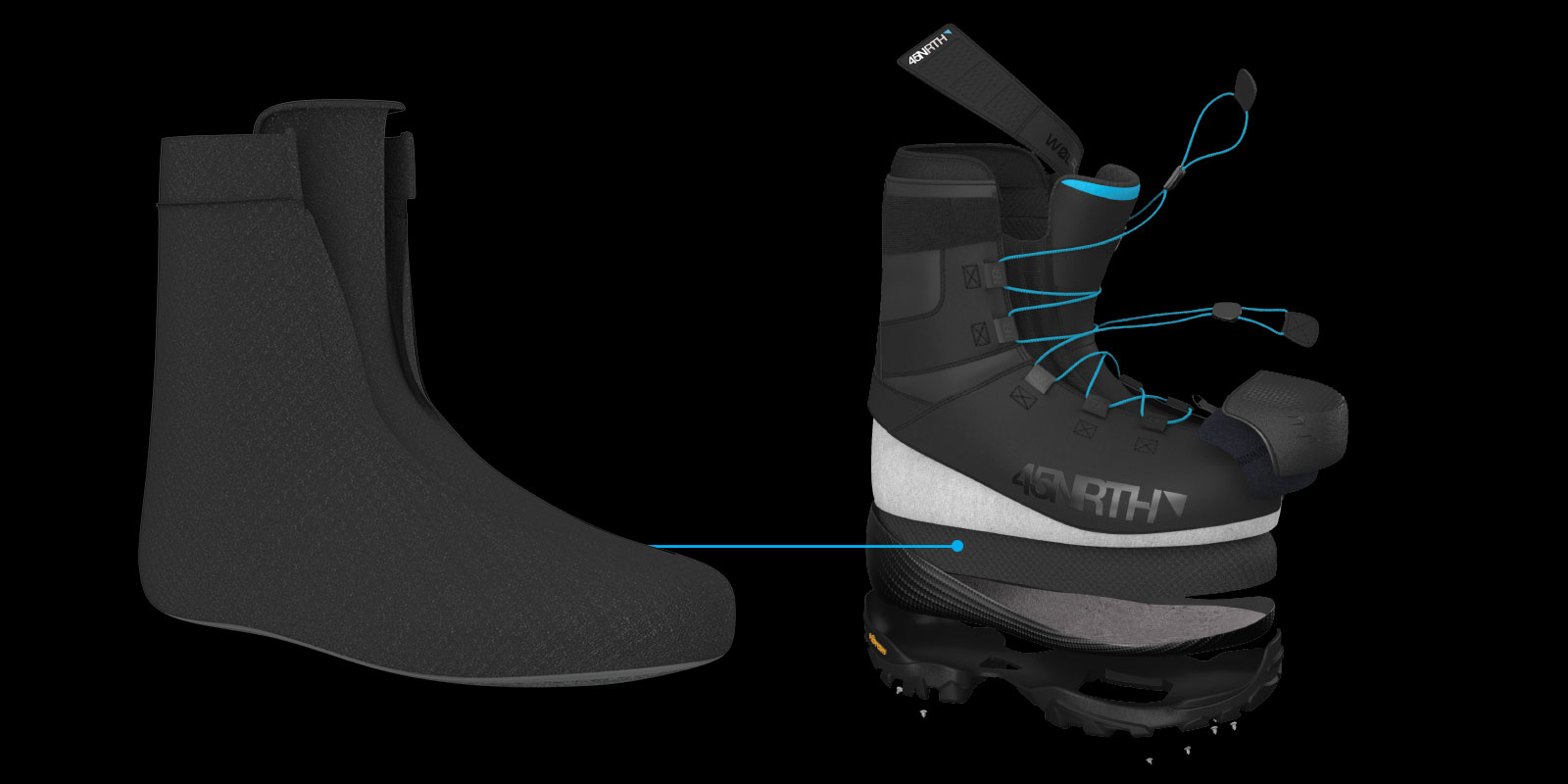 Digital illustration of the waterproof lining in the 45NRTH Wolfgar cycling boot