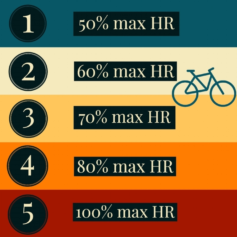 Chart illustrating the 5 zones from 50 percent max heart rate to 100 percent max heart rate