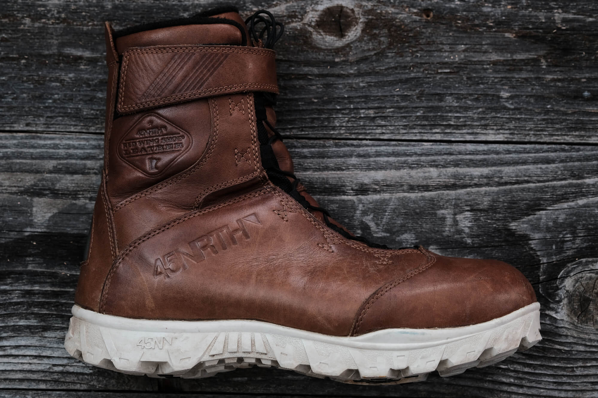 45NRTH Red Wing Wölvhammer cycling boot with leather lightened after Naturseal has dried