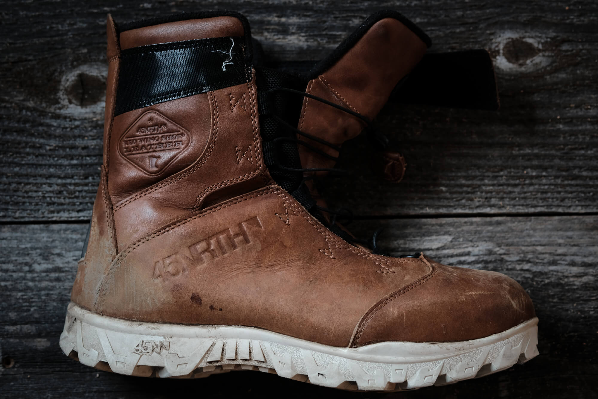 45NRTH Red Wing Wölvhammer cycling boot with loosened laces and tongue extended