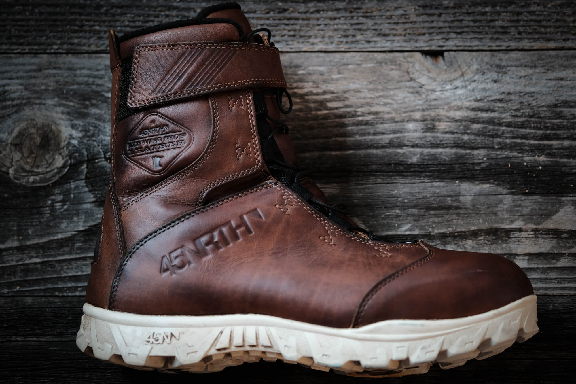 45NRTH Red Wing Wölvhammer cycling boot with leather darkened from the Naturseal