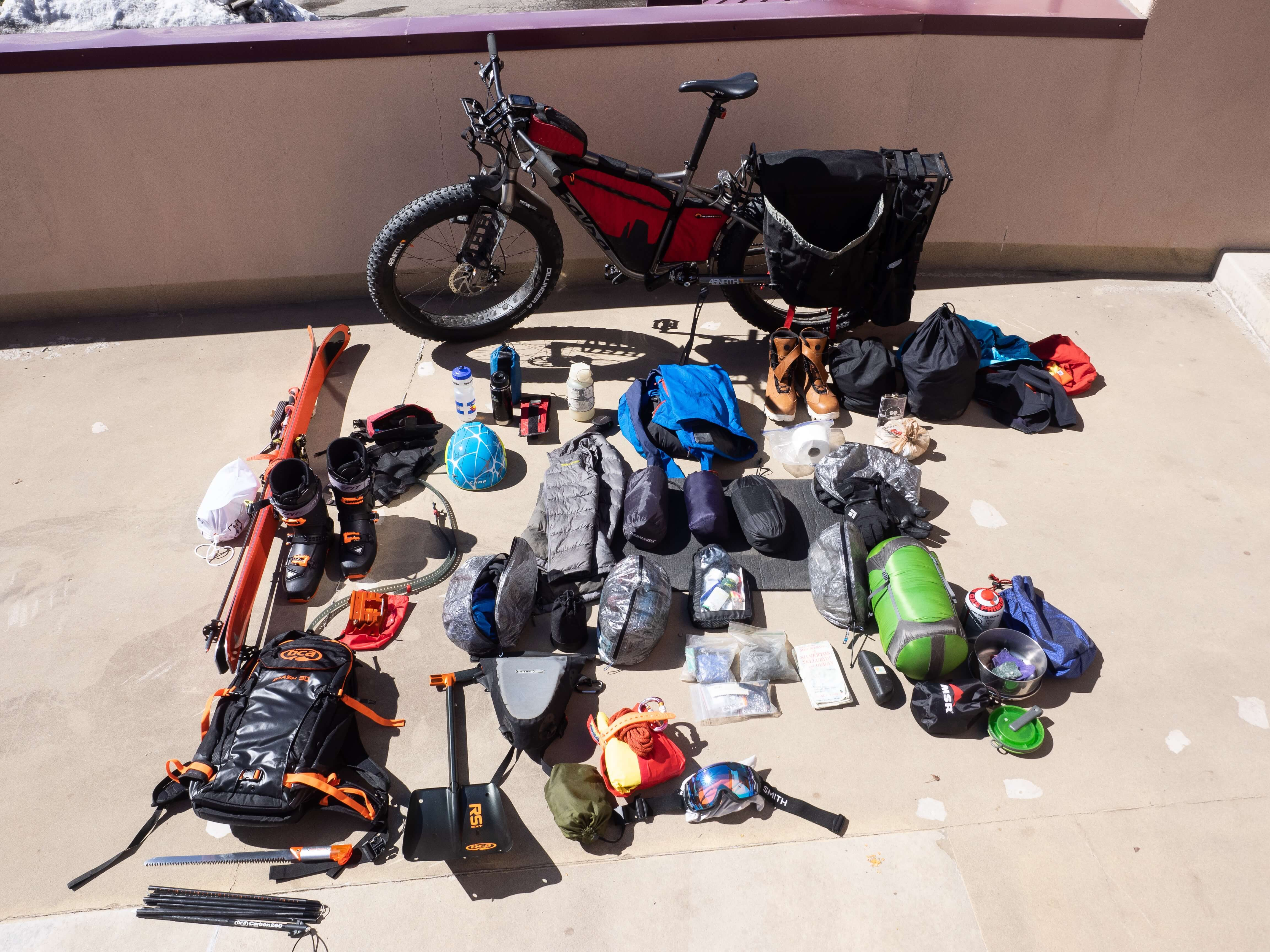 Eighteen days of self-supported fun requires a big bike to carry all of the gear.