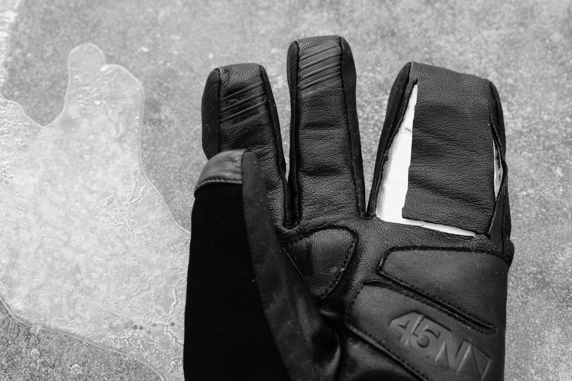 A 45NRTH Sturmfist 4 glove with goatskin leather lining the palm for protection