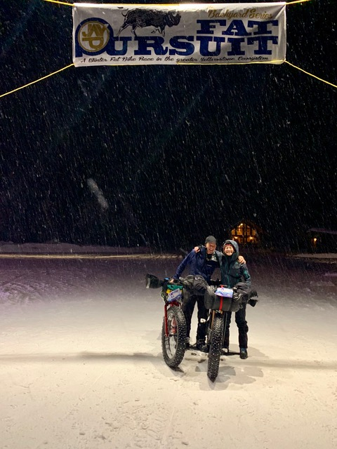 Michelle and Joel posing at the Fat Pursuit finish line with their fat bikes