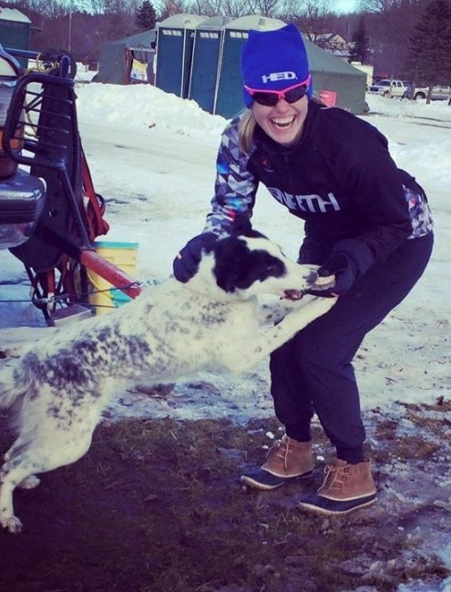 45NRTH team member being jumped on by a dog