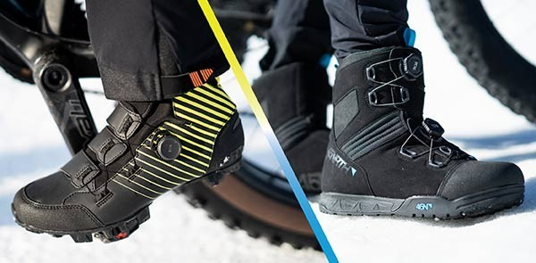 Collage: person wearing Ragnarök Tall Boot clipped into bike pedal, person wearing Wølfgar Boot on snow next to fat bike