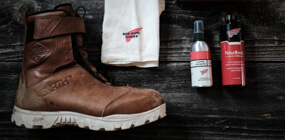 45NRTH Red Wing Wolvhammer cycling boot with Red Wing leather cleaning materials