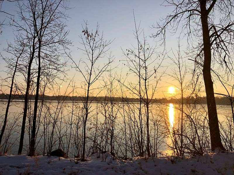 Sun rising over lake with snow and bare trees in the foreground