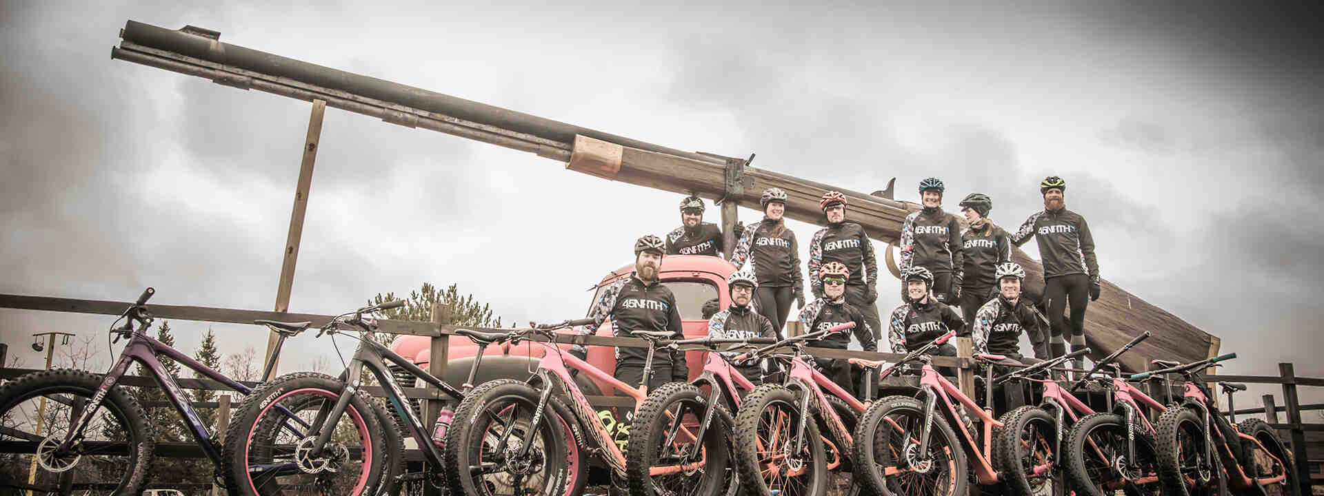 45Nrth team riders pose beside big gun
