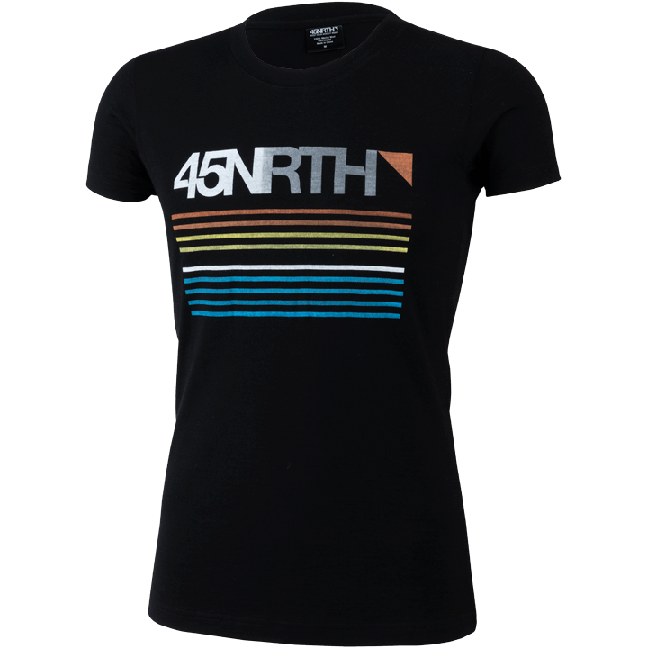 45NRTH Merino Wool Team Graphic T-Shirt - Black with Multicolor logo - Men's/unisex fit - front view