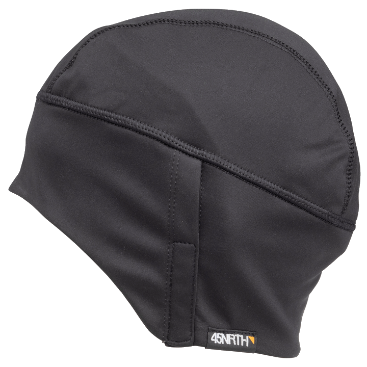 45NRTH Stove Pipe Windproof Cycling Cap - Black - side view with 45NRTH tag