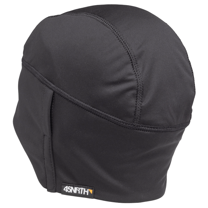 45NRTH Stove Pipe Windproof Cycling Cap - Black - rear three quarter view with 45NRTH tag