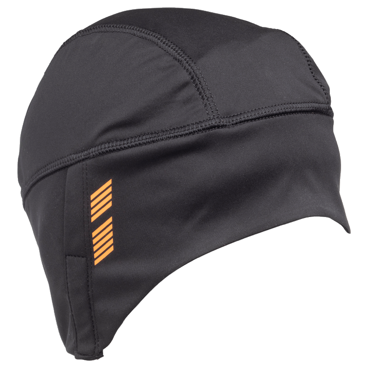45NRTH Stove Pipe Windproof Cycling Cap - Black - front three quarter view with 45NRTH design element