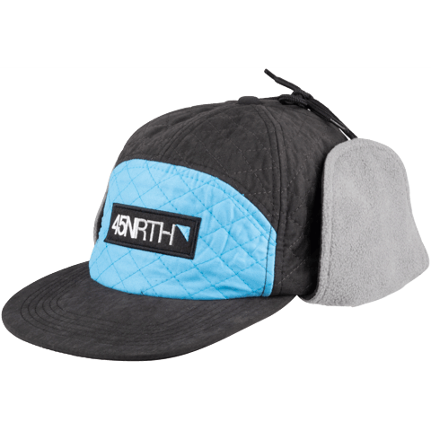 45NRTH Polar Flare Flap Cap - Black/Blue - front three quarter view