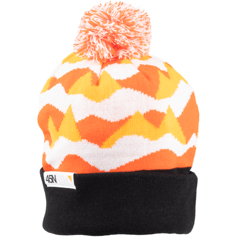 45NRTH Polar Flare Pom Hat - Orange/black/white - front three quarter view