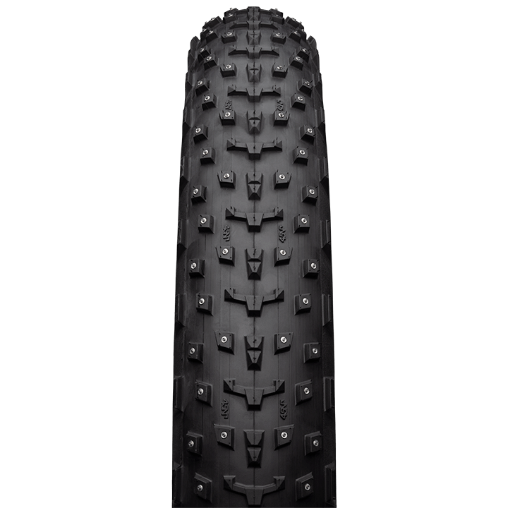 45NRTH Dillinger 4 27.5 Studded Fat Bike Tire - black - front view with tread detail