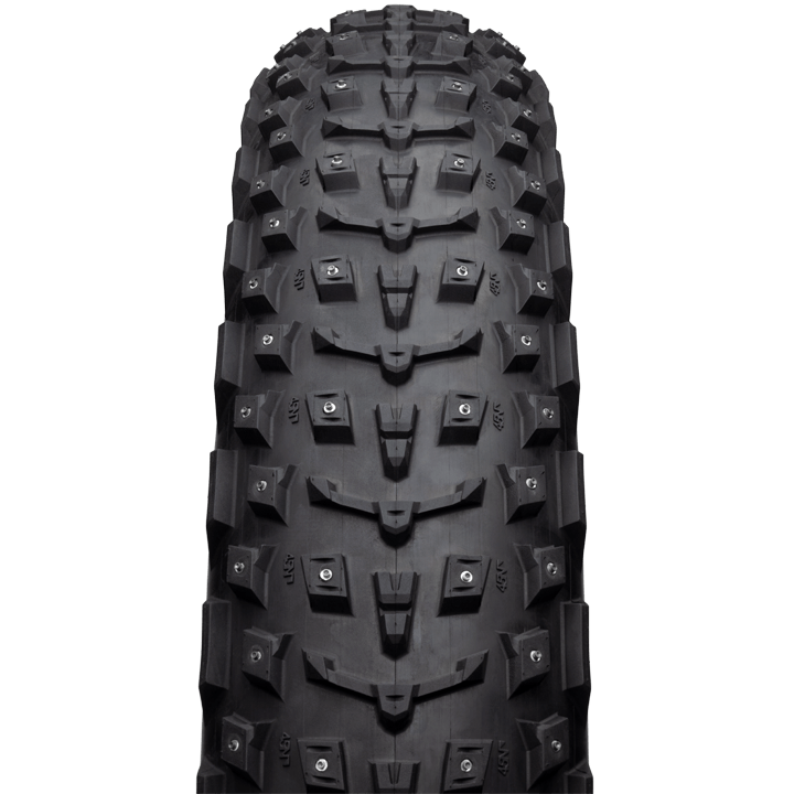 45NRTH Dillinger 5 27.5 Studded Fat Bike Tire - black - front view with tread detail
