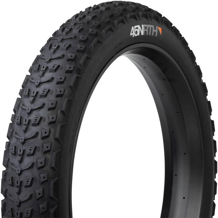 45NRTH Dillinger 5 27.5 Studdable Fat Bike Tire - black - three quarter view with sidewall and tread detail