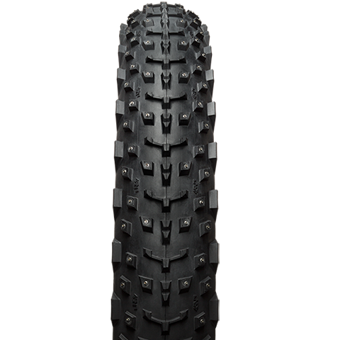 45NRTH Dillinger 4 26 Studded Fat Bike Tire - black - front view with tread detail