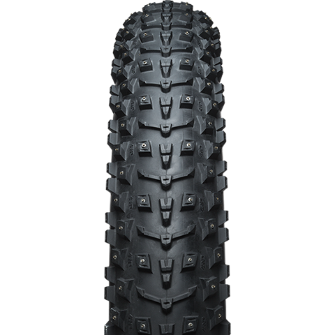45NRTH Dillinger 5 26 Studded Fat Bike Tire - black - front view with tread detail