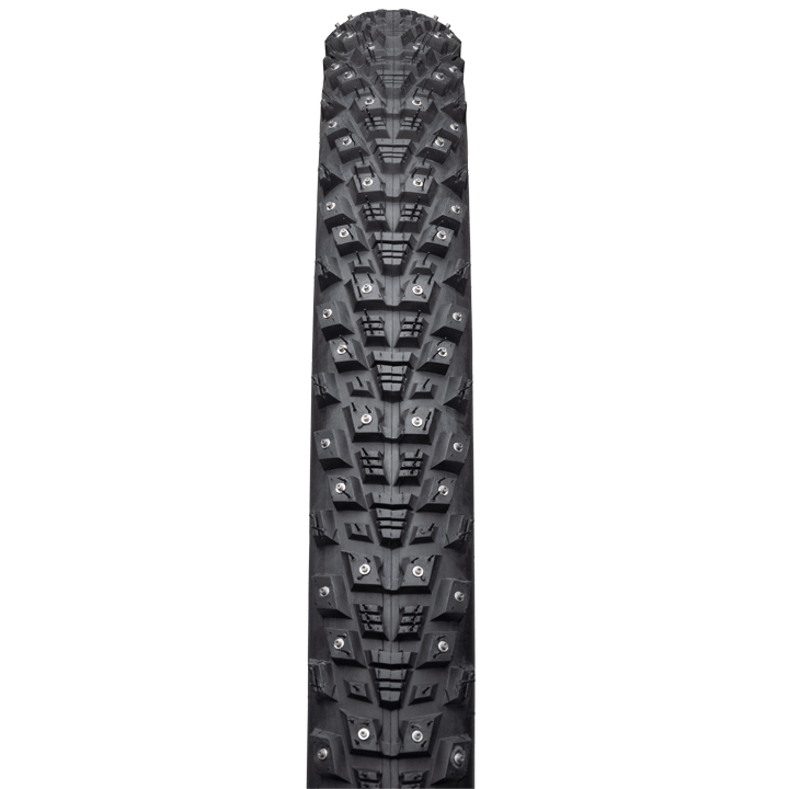 45NRTH Kahva 27.5 Studded Tire - black - front view with tread detail