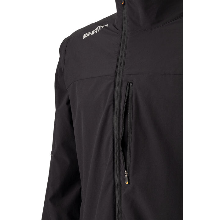 45NRTH Men's Naughtvind Winter Cycling Jacket - Black - front view with offset zipper and zippered chest pocket detail
