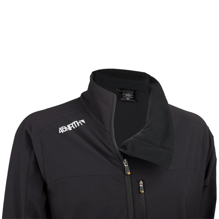 45NRTH Men's Naughtvind Winter Cycling Jacket - Black - collar and offset zipper detail with zipper partially open