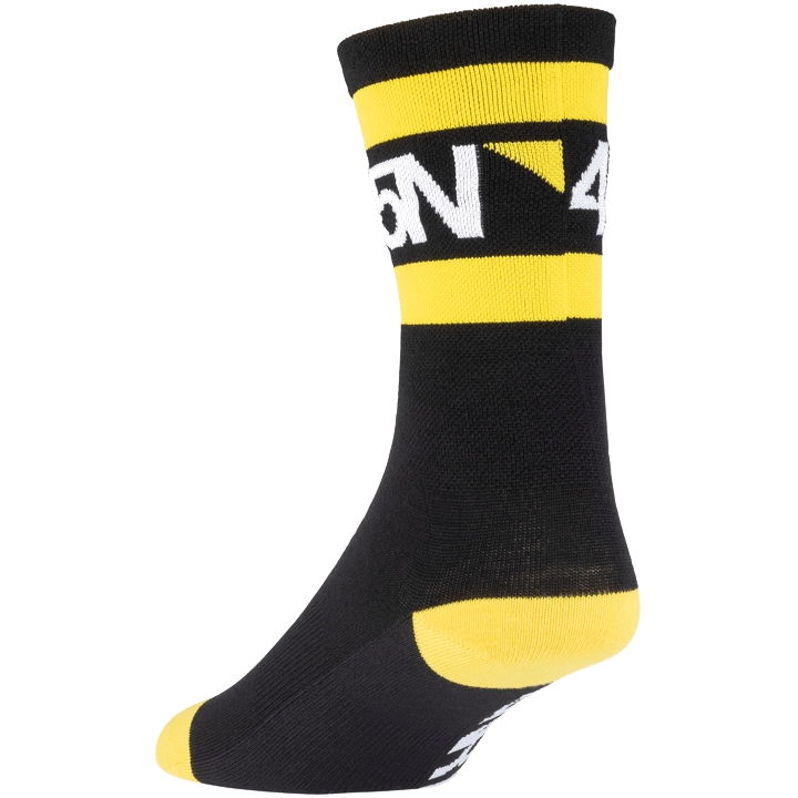 45NRTH Lightweight SuperSport Cycling Socks - Black with yellow/white - rear three quarter view
