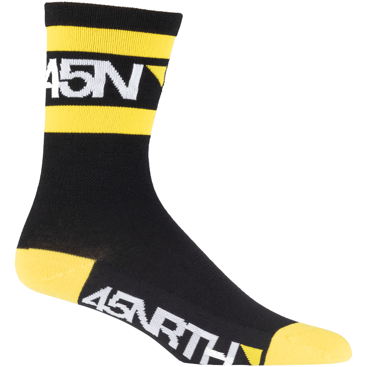 45NRTH Lightweight SuperSport Cycling Socks - Black with yellow/white - side view with logo