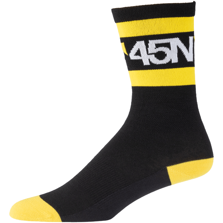45NRTH Lightweight SuperSport Cycling Socks - Black with yellow/white - side view