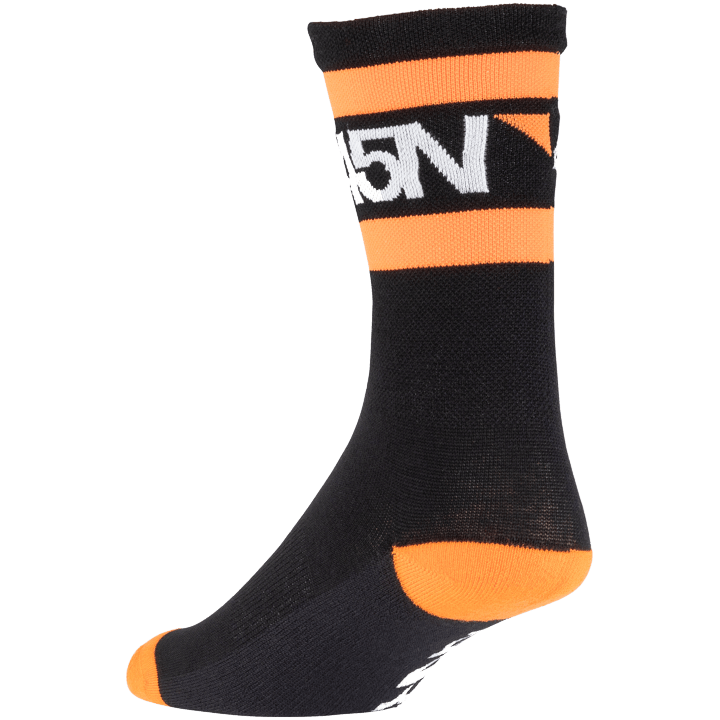 45NRTH Midweight SuperSport Cycling Sock - Black with orange/white - rear three quarter view