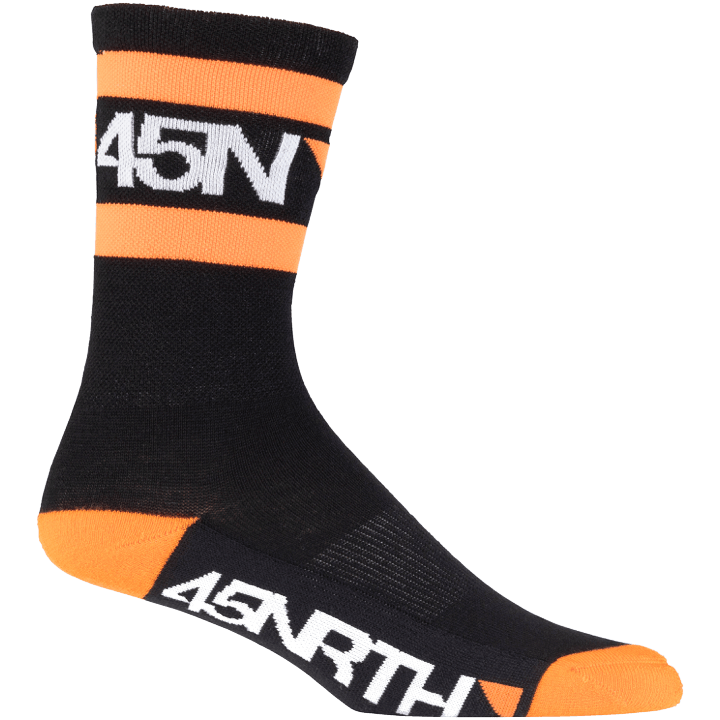 45NRTH Midweight SuperSport Cycling Sock - Black with orange/white - side view with logo