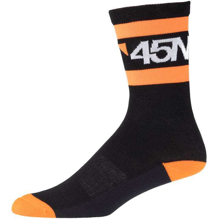 45NRTH Midweight SuperSport Cycling Sock - Black with orange/white - side view