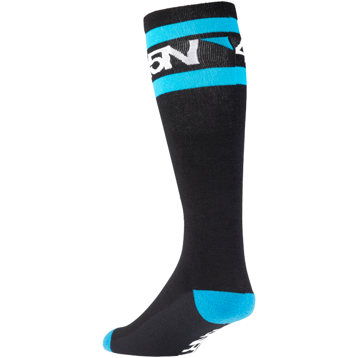 45NRTH Midweight SuperSport Knee High Sock - Black with Blue/White - rear three quarter view