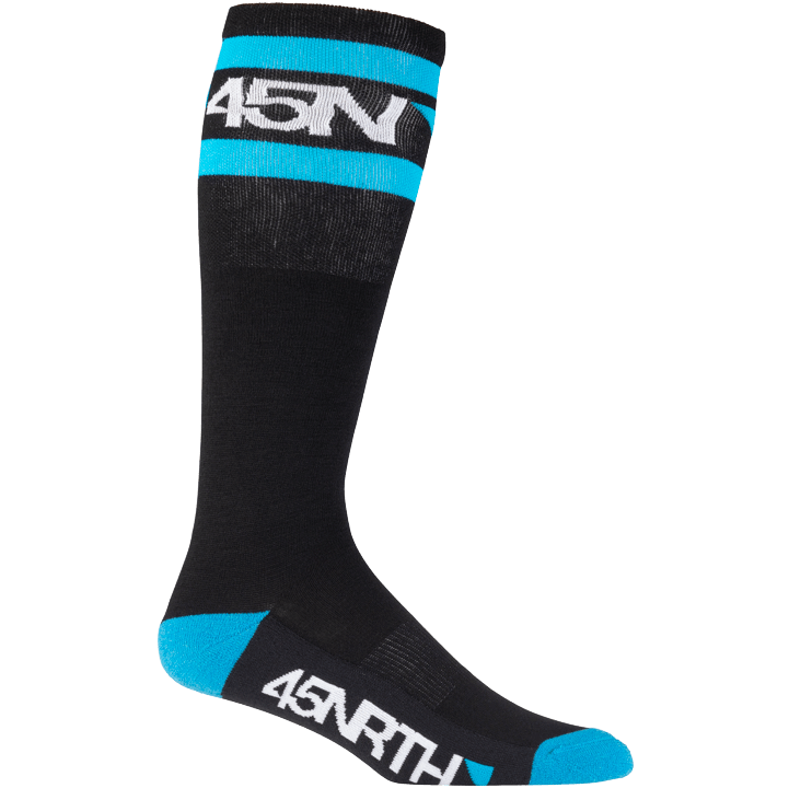 45NRTH Midweight SuperSport Knee High Sock - Black with Blue/White - side view with logo