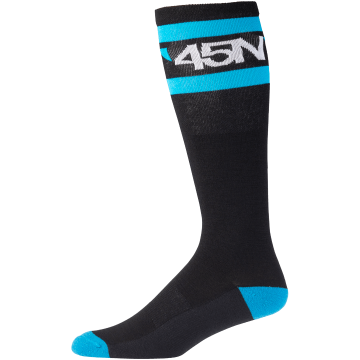 45NRTH Midweight SuperSport Knee High Sock - Black with Blue/White - Side view