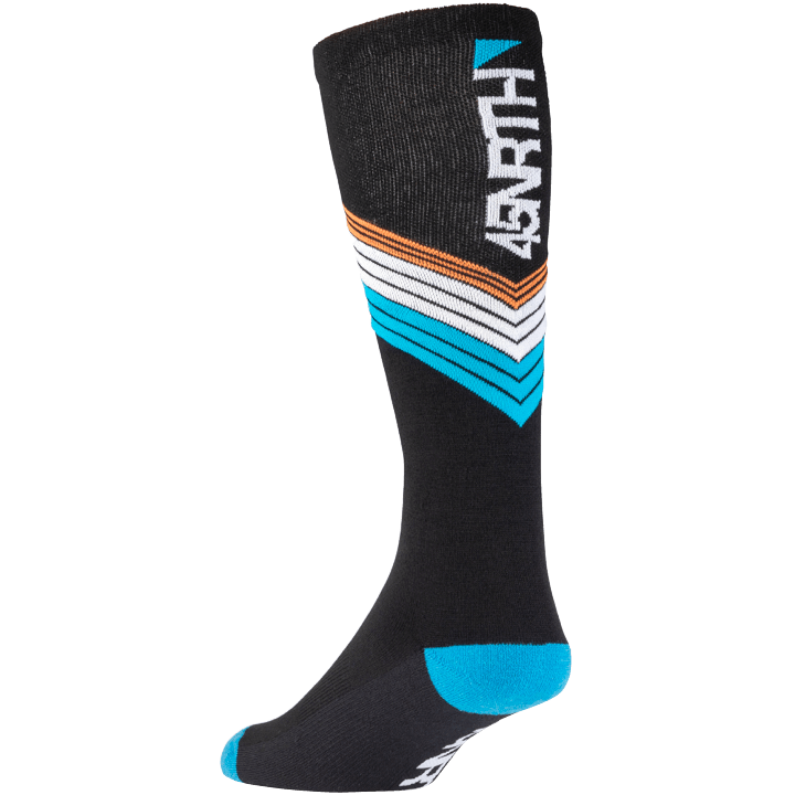 45NRTH Midweight Hotline Knee High Sock - Black with multicolor detail - rear three quarter view with logo