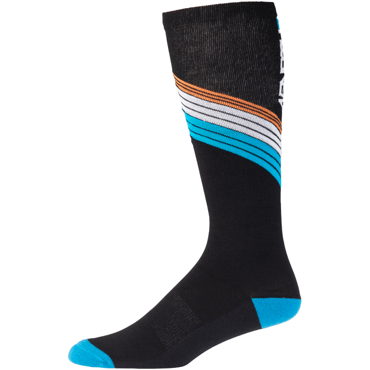 45NRTH Midweight Hotline Knee High Sock - Black with multicolor detail - side view