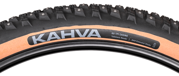 45N Kahva 27.5 Studded Tire - black/tan - 60 TPI - side view with tread profile and hotpatch