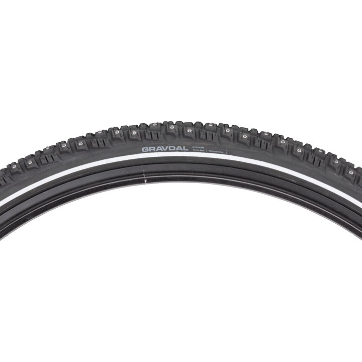 45NRTH Gravdal 700c Studded Tire - black - 60 TPI - side view with tread profile and hotpatch