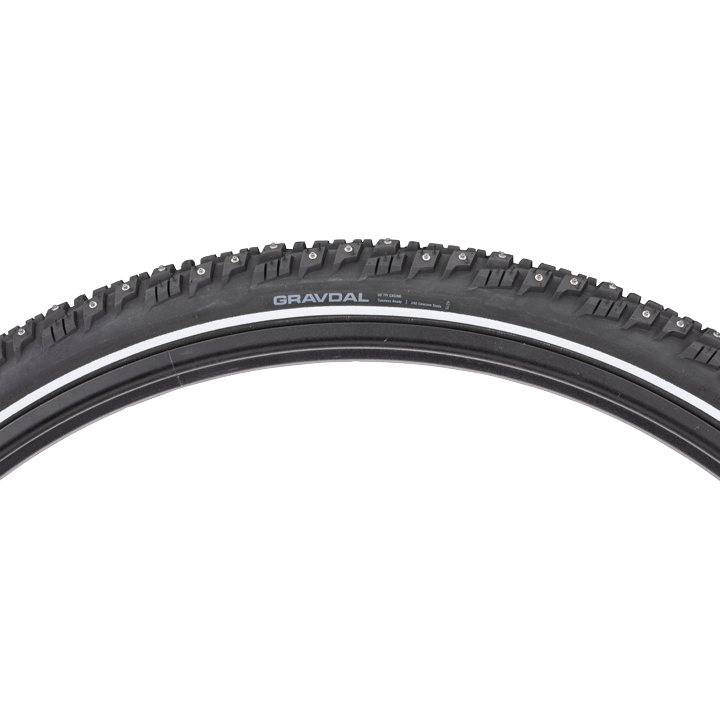 45NRTH Gravdal 650 Studded Tire - black - 60 TPI - side view with tread profile and hotpatch