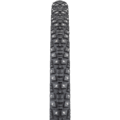 45NRTH Gravdal 650 Studded Tire - black - front view with tread detail