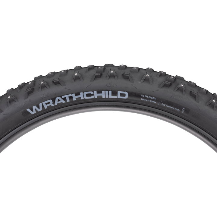 45NRTH Wrathchild 27.5 Studded Tire - black - side view with tread profile and hotpatch