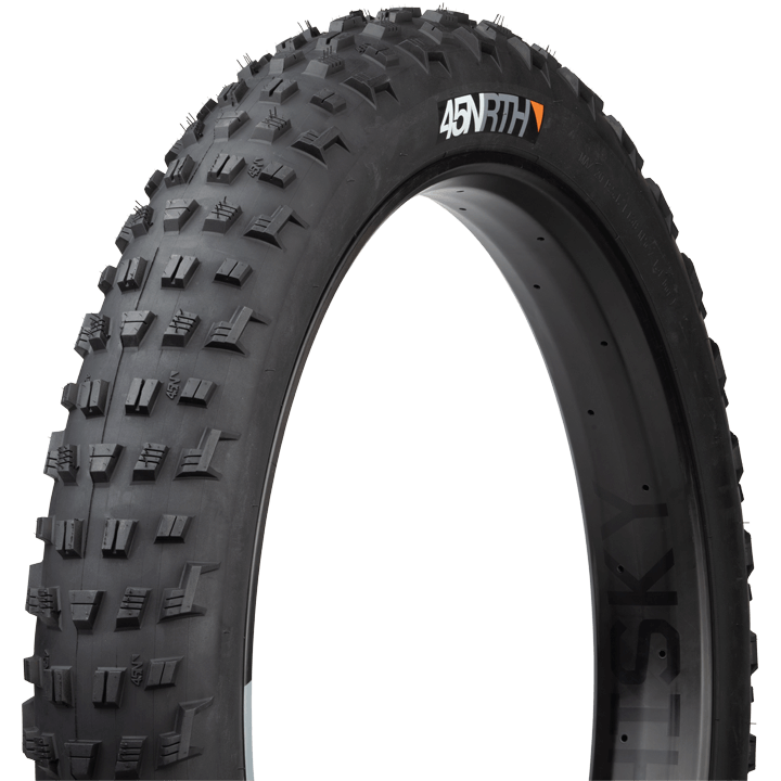 45NRTH Vanhelga Fat Bike Tire - black - three quarter view with sidewall and tread detail