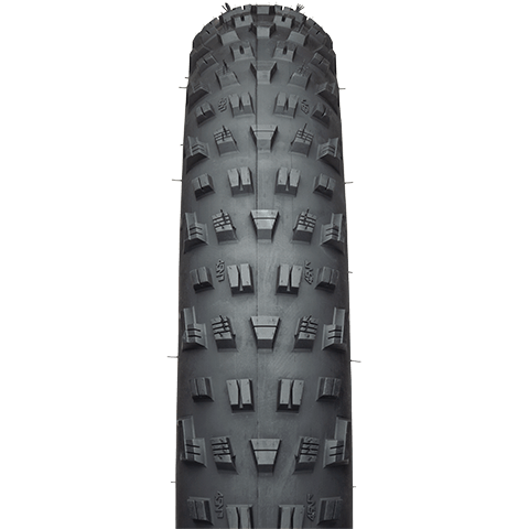 45NRTH Vanhelga Fat Bike Tire - black - front view with tread detail